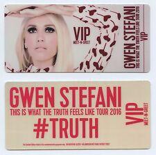 2 pair GWEN STEFANI Commemorative VIP Meet Greet PASS Truth Feels Like Tour 2016
