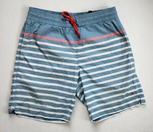 Tommy Hilfiger Swim Shorts Mens Small Blue Red White Striped Lined Drawstring