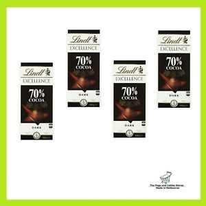 4x Lindt Excellence 70% Cocoa Dark Chocolate Bar 100g