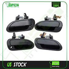 4Pcs for 98-02 Honda Accord Black Exterior Door Handles Right&Left Front&Rear