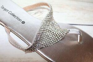 TARGET Brand Silver Diamondette Thong Sandal Size 7 NEW