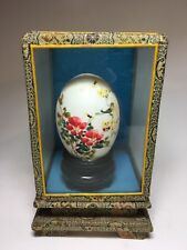Vtg Chinese Vintage Painting On Egg - Glass Box - Birds & Flowers For Happiness