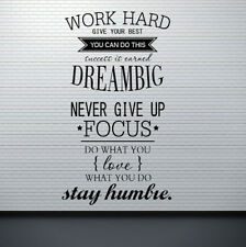 "Inspirational ""Work Hard Dream Big"" Wall Stickers Removable Vinyl Decal Quote"