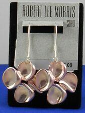 Robert Lee Morris Silvertone Pink Sculptural Flower Drop Earrings $35