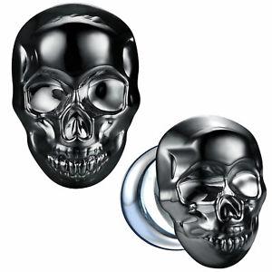 BodyJ4You Glass Ear Plugs Glossy Dark Blue Skull Flare Saddle Stretching Gauges