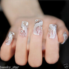 Fashion Trendy Lace Diamond Flower Design Stickers Nail Art Tips DIY Decoration