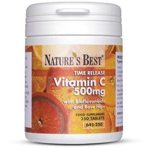 Vitamin C 500mg - High Strength Longer Acting - 250 Vegan Tablets - Time Release