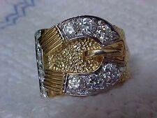 WOW, MASSIVE HEAVY,29 GRAM, SOLID,9 CARAT GOLD , BUCKLE SIGNET RING LGE SIZE, Z