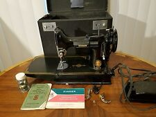 WORKING Singer 221 1953 Featherweight Portable Sewing Machine w/ Case AND BOOK