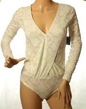 Free People Women's Ivory Sneaky Surplice Lace Bodysuit Size XS
