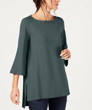 Eileen Fisher Dragonfly High-Low Bateau Neck Stretch Jersey Long Tunic Size Sz S