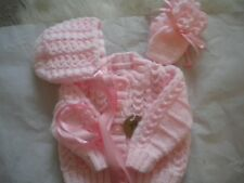 Hand Knitted Pink Baby Set: Cardigan matching Bonnet & Mittens -size 0-3 months