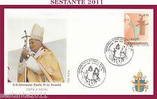W136 VATICANO FDC ROMA VISITA PAPA GIOVANNI PAOLO II BRASILE NATAL 1991
