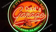 "24"" New Dad's Garage Logo REAL GLASS NEON SIGN BEER BAR PUB LIGHT"
