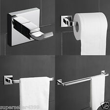4 Piece Bath Towel Bar Set Accessories Bathroom Hardware- Solid Brass Chrome