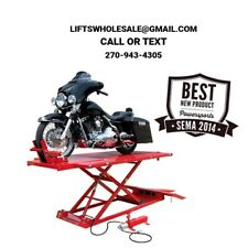 Titan 1,500 lbs. Extra Long & Tall Motorcycle Lift - Front & Side Extensions
