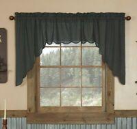 Arlington Swag Set Navy Blue Plaid Farmhouse Primitive Lined Window Treatment