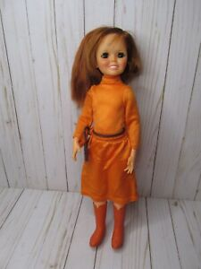 Q Vintage Ideal Crissy Chrissy Doll Clothes Orange Long Dress Panties And Boots!
