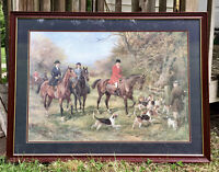 """Heywood Hardy Large Vintage Print """"Going To Cover"""" matted*Sofa Size*Wood Framed*"""