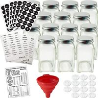 4Oz Spice Jars Shaker Bottles Airtight Square Glass Labels Set Organizer Kitchen