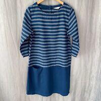 SEASALT Navy Blue Stripe SIZE 12 UK Half Sleeve Tunic Dress