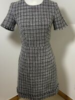 Warehouse Size 10 Tweed Work Dress Grey White Black Boucle Fitted Lined Fringe