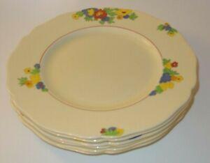 """6 Royal Doulton Minden 9 1/2"""" Art Deco Floral Dinner Plates D5334 c1939 VGC"""