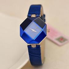 Women's Watch Diamond Faux Leather Rhinestone Quartz Wrist Fashion Watch Blue #M