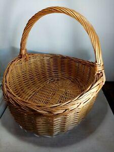 Large Brown Handmade Wicker Basket With Handle