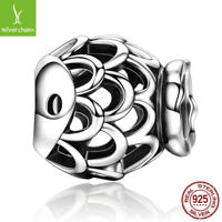 925 sterling charm silver bead with Openwork Fish Shape Beads fit Charm Bracelet