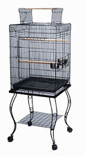 Large 20-Inches Open Play Top Parrot Bird Cage W/Rolling Stand #901A BLK 631
