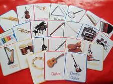 MUSICAL INSTRUMENTS - 24 flash cards - classroom/ home/ hobby/ childminder/music