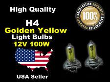 USA Seller Headlight Xenon Light Bulb-100w Golden Yellow H4 High/Low Beam-A
