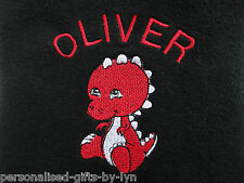 Personalised Baby Blanket, Red Dinosaur design in a choice of 7 colours
