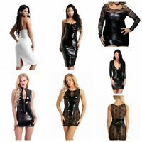 Sexy Women Leather Wet Look Bodycon Evening Party Cocktail Club Short Mini Dress