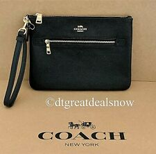 NEW Coach Crossgrain Leather Gallery Pouch in Black F79895