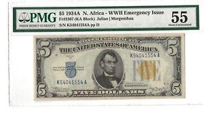 1934A $5 Silver Certificate North Africa - FR.2307 - PMG AU 55  - WW II Issue
