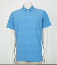 Puma Golf Blue Striped Casual Tech Blend Golf Polo Shirt Mens Large