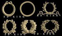 6 Pcs 3D STL Models Wreaths & Coronals for CNC 3D Printer Engraver Carving Cut 3