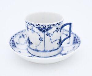Rare Cup & Saucer #591 - Blue Fluted Royal Copenhagen - Half Lace - 1st Quality