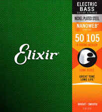 Elixir 14102 Electric Bass Guitar Strings - Nickel Plated Steel Nanoweb - Medium