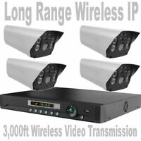 Wireless IP Security Cameras Long Range/Distance Up To 3,000Ft CCTV System + NVR