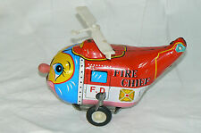 Vintage Tin Wind-Up Comic Helicopter Fire Department Chief made in korea MTU