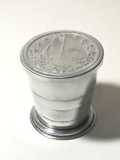 Vintage Collapsible Aluminum Drinking Cup with Sailboat Boat With Lid Camping
