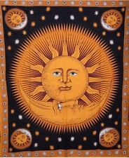 Sun And Moon Celestial Tapestry Psychedelic Beach Blanket Cotton Boho Tapestries