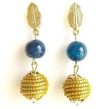 LAPIS LAZULI BEAD BALL EARRINGS CAPIM GOLDEN GRASS SPHERE VEGETABLE NATURAL GOLD