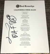 JELLO BIAFRA SIGNED DEAD KENNEDYS CALIFORNIA UBER ALLES LYRIC SHEET wEXACT PROOF
