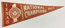 "Vintage 1963 U. of Texas Longhorns 29""x 11"" National Champs Pennant Very Rare"