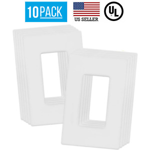 10 PACK 1-GANG SCREWLESS DECORATOR WALL PLATES CHILD SAFE OUTLET COVERS, WHITE