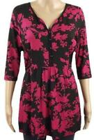 New George Ladies Black & Pink Floral Casual 3/4 Sleeve Tunic Top Size 14 - 24